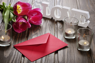 tulips and red envelope