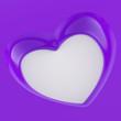 3D Herz Flyer Quadratisch - Violett Weiß