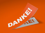 3D Etikett Orange - Danke!