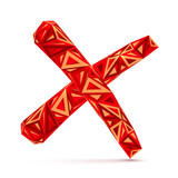 Red abstract triangles isolated vector cross mark