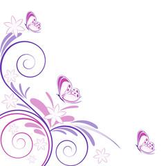 sfondo primaverile fiori e farfalle