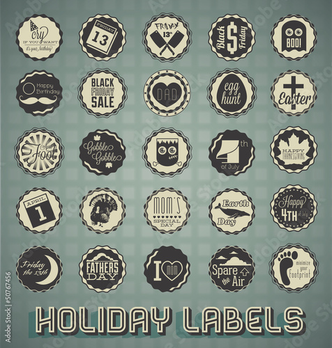 Vector Set: Mixed Holiday Labels and Icons