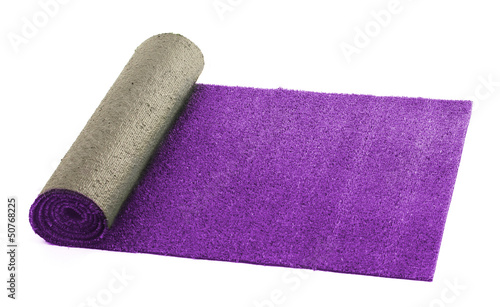 Artificial rolled violet grass, isolated on white