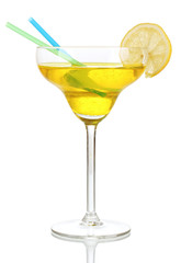 Yellow cocktail in glass isolated on white