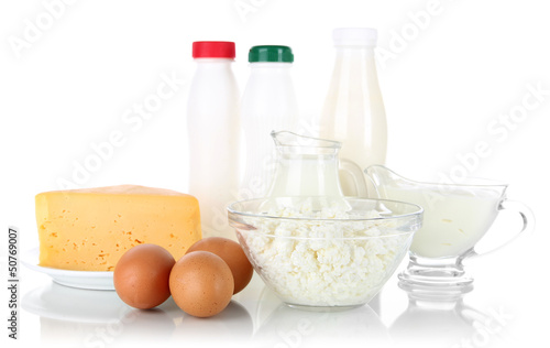 Dairy products and eggs isolated on white