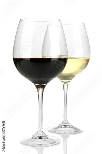Two glasses of  red and white wine, isolated on white