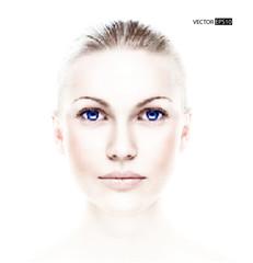 Vector dotted beautiful woman's portrait, digital art.