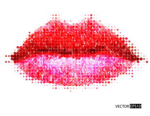 Abstract vector womans lips.