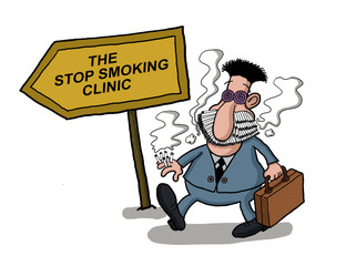A man goes to a smoking clinic