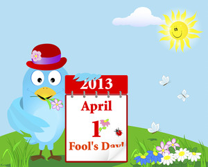 April Fool's Day. Blue Bird with the calendar.
