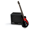 3d amplifier and bass isolated on white background
