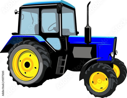 Beautiful tractor isolated on a white background
