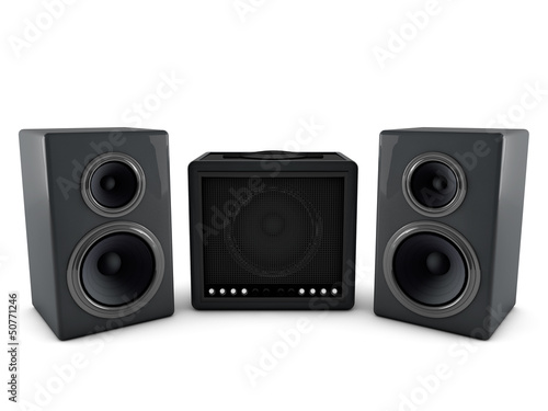 3d amplifier and speaker isolated on white background