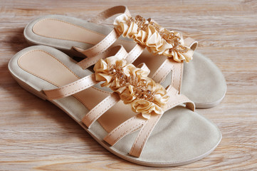 Ladies beige sandals low heels