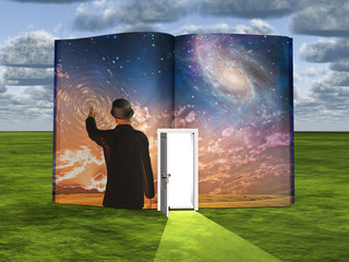 Book with science fiction scene and open doorway of light