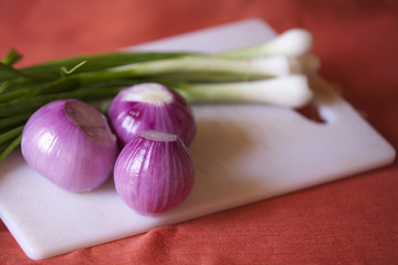 green and red onion