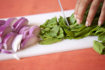 onion pieces on the board with spinach