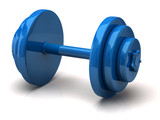 Blue dumbell isolated on white background