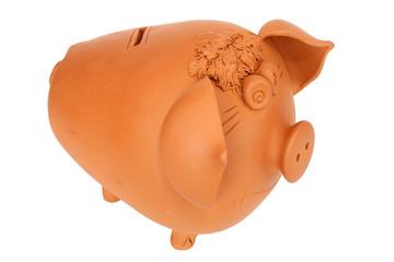 Earthen pig money-box isolated on white backgrund