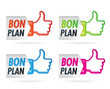icones orange, verte, rose, bleu bon plan