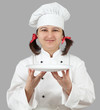 Female chef with a tray.