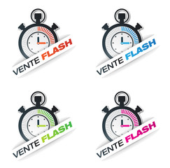 bouton vente flash rose, bleu, orange, verte