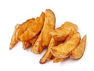 potatoes fried on white background