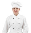 Woman chef in uniform isolated on white background.