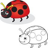 Coloring book. Ladybug toy. Vector illustration.