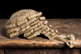 Block gavel and wig