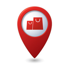 Map pointer with shopping bags icon. Vector