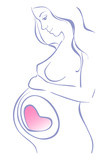 line drawing pregnant woman