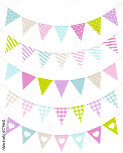5 Seamless Buntings Curve Pattern Pastel