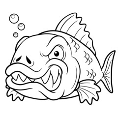 vector illustration of angry fish cartoon - Coloring book