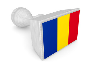 Woden stamp with romanian flag.