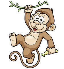 Vector Illustration of Cartoon Monkeys
