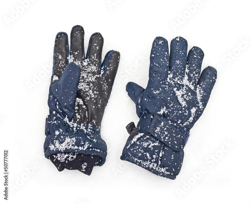 blue gloves snow