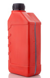 Red canister with machine oil