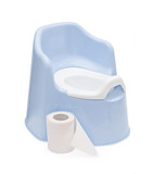 children's blue pot and toilet paper on a white background