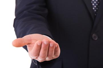 Empty businessman's hand.