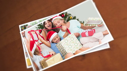 Pictures of an happy family during christmas