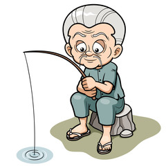 Vector illustration of Cartoon Old man fishing