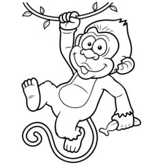 Vector Illustration of Cartoon Monkeys - Coloring book