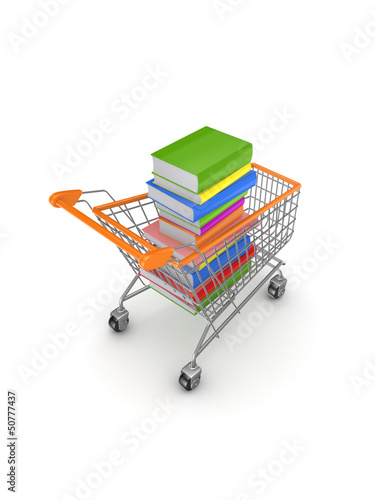 Colorful books in a shopping trolley.
