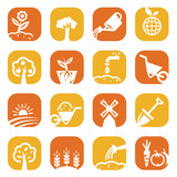 color gardening icon set