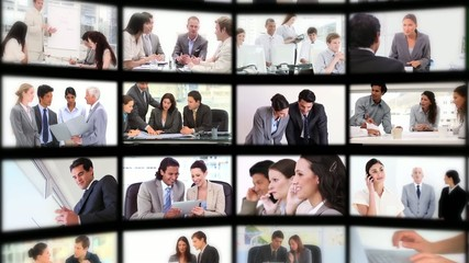Montage presenting people at work