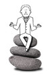 illustration of unhappy businessman sitting on zen stones