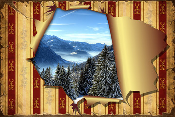 3D Aufgerissene Tapete - Bergwelt