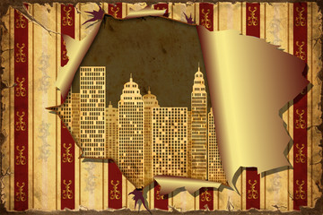 3D Aufgerissene Tapete - Skyline