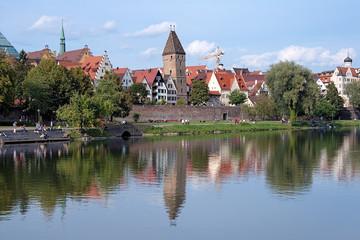 Metzgerturm tower on the shore of Danube River in Ulm, Germany